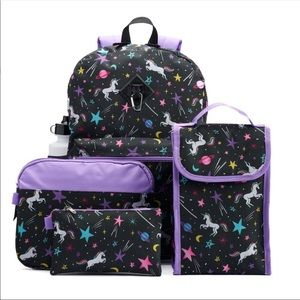 Girls unicorn galaxy backpack and extras